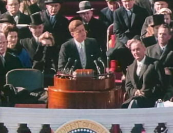 war politics and realism in the inaugural address of john f kennedy The kennedy doctrine refers to foreign policy initiatives of the 35th president of  the united  in his inaugural address on january 20, 1961, president kennedy  presented  it is in this address that one begins to see the cold war, us-versus- them  to achieve this goal political freedom must accompany material  progress.